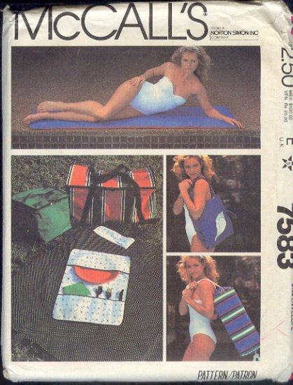 McCall's Sewing Pattern 7583, Sun Mat, Tote, Duffle, Picnic Baskets and accessories, One Size
