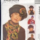 McCall's Sewing Pattern 9063, Fives hats and scarves, One cut, others unused, Sizes 21 - 23""