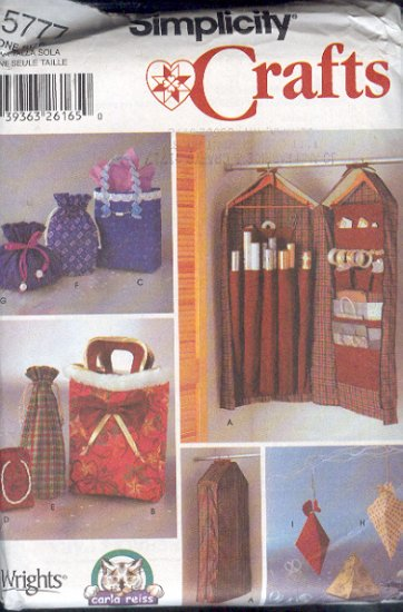 Simplicity Sewing Pattern 5777 Gift wrap organizer, Six different gift bags, three boxes, One Size