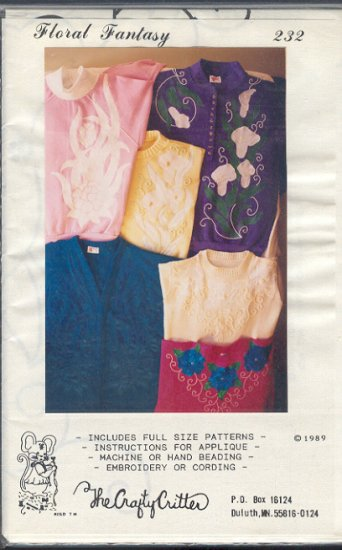 Sewing Pattern, Crafty Critter 232 , Inlcudes Patterns and appliqlues, all sizes