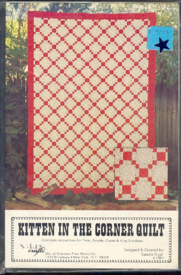 Sewing Pattern, Kitten in the corner quilt by Sandra Sigal, Twin, double, queen, king