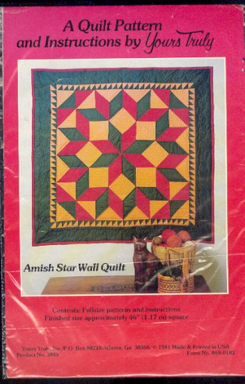 "Sewing Pattern, Amish Star Wall Quilt by Yours truly, 46"" X 46"""