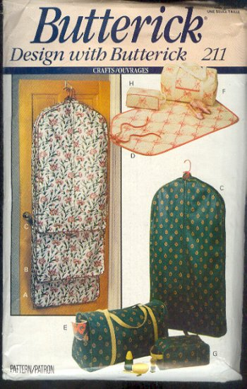 Sewing Pattern, Butteric, 211, Travel bags, tote, hangers and accessory cases