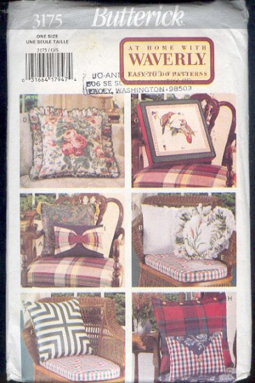 Butterick Sewing Pattern 3175, Assortment of pillows. One size