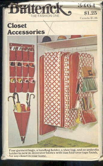 Butterick Sewing Pattern 3464, Closet Accessories, One size