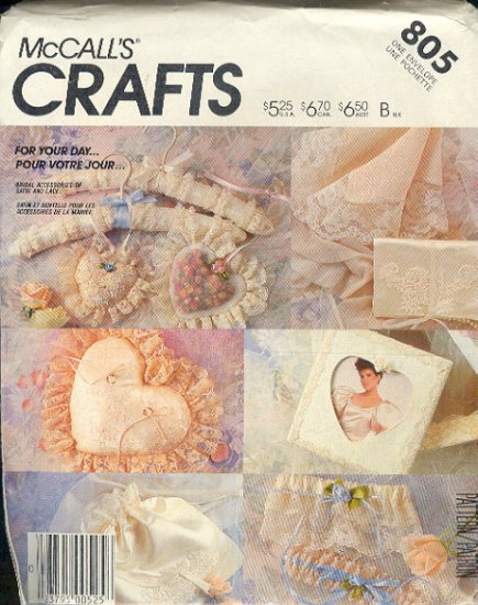 McCall's Sewing Pattern 805 Bridal accessories, One Size