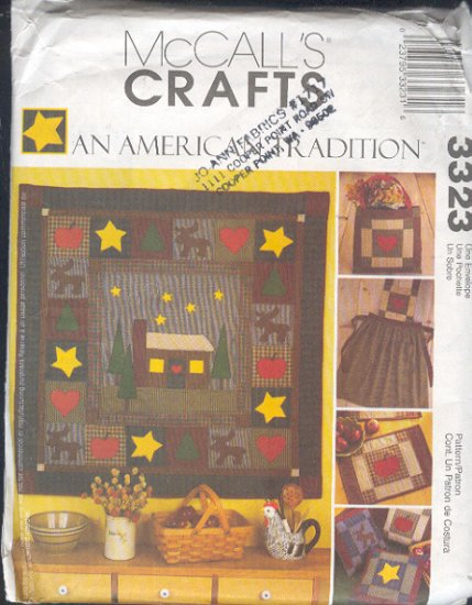 McCall's Sewing Pattern 3323, Cabn and Moose Quilt and pillows, one size
