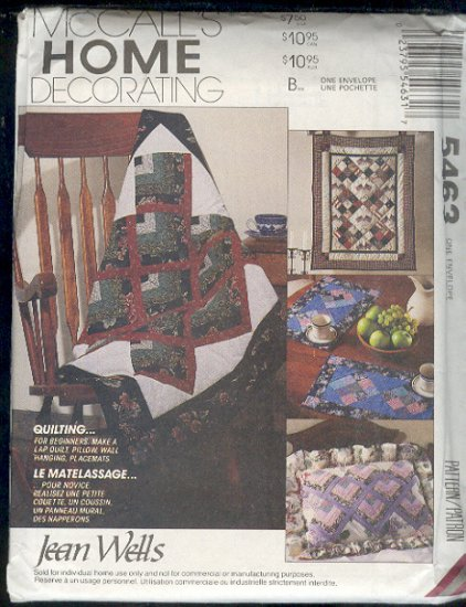 McCall's Sewing Pattern 5463, Lap Quilt, Wall Quilt, Pillow sham and placements, One Size