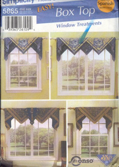 Simplicity Sewing Pattern, Window Treatment, Four Options, includes Spanish