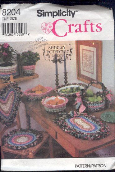 Simplicity Sewing Pattern 8204 Braided rag accessories for table and baskets