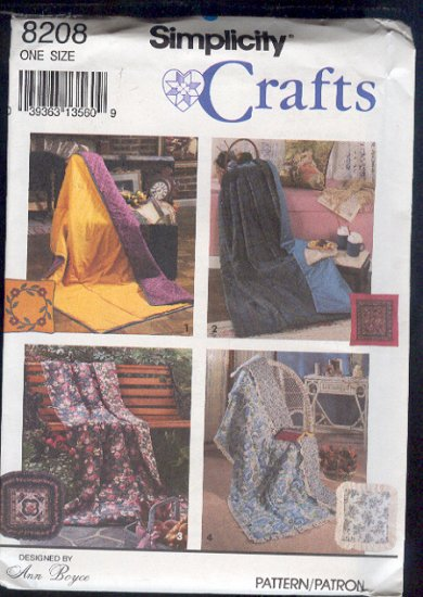 Simplicity Sewing Pattern 8200, Quilt in a pillow, Four options
