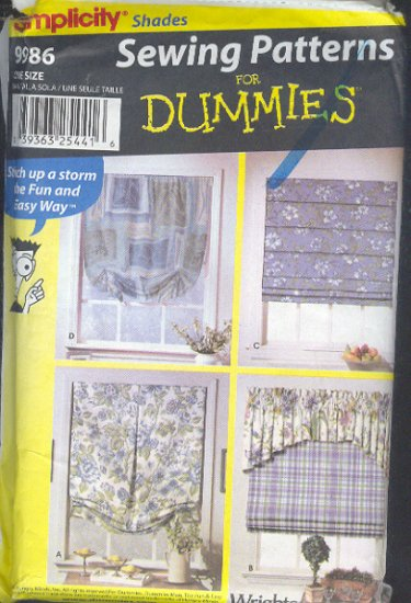 Simplicity Sewing Pattern 9986, Window Treatments, 5 options