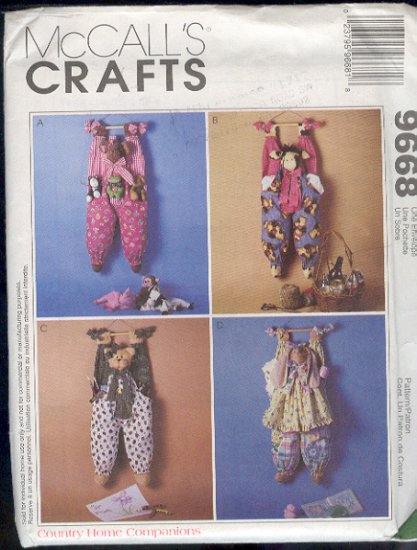 """McCall's Sewing Pattern 9868, Hanging Bag Holders, 30"""" Cow, Bear, Cat and Bunny"""