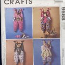 "McCall's Sewing Pattern 9868, Hanging Bag Holders, 30"" Cow, Bear, Cat and Bunny"