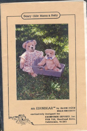 Sewing Pattern, Beary Old Mama and Baby by Edinbear, 8 and 14 inch, jointed