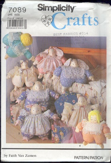 """Simplicity Sewing Pattern, 17"""" Bunny, Cat and Doll"""