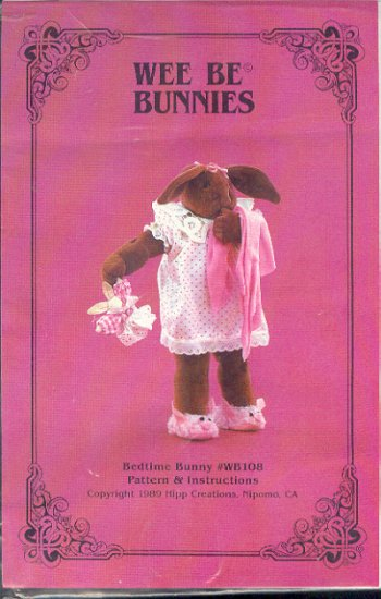"Sewing Pattern, Wee Be Bunnies, Bedtime Bunny, 18"" with clothes"