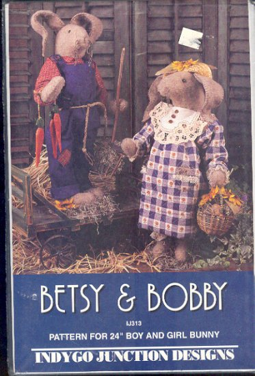 "Sewing Pattery, Indygo Junction Designs, Betsy and Bobby, 24"" bunny rabbit with clothes"
