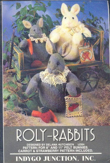 """Sewing Pattery, Roly-Rabbits, 8"""" and 11"""" bunny rabbits by Indygo Junction"""