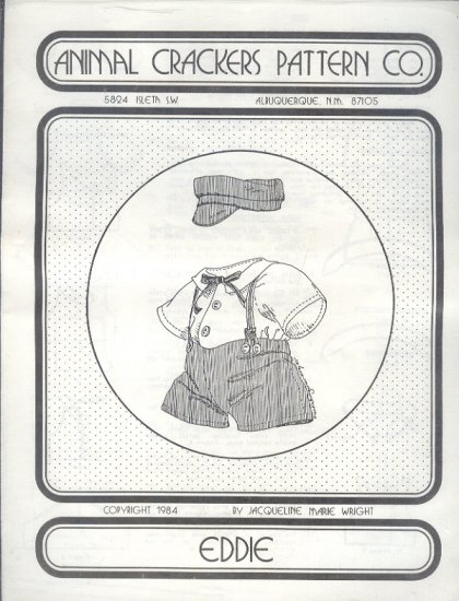 """Sewing Pattern Animal Crackers, Eddie outfit for 16"""" doll  or bear"""
