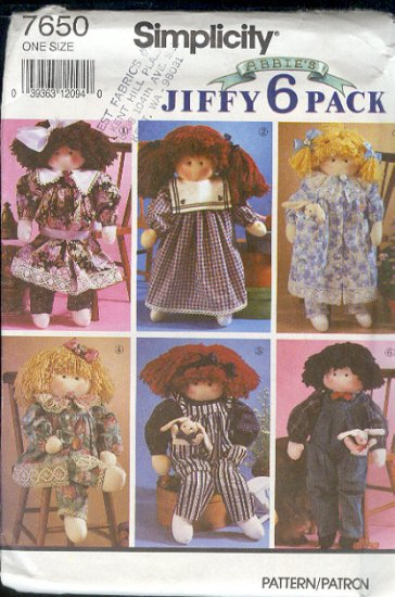 "Simplicity Sewing Pattern 7650 22"" doll and six great outfits"