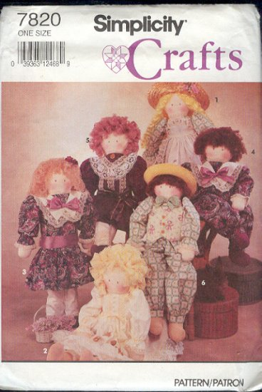"Simplicitiy Sewing Pattern 7820 22"" doll and all the clothes pictured"
