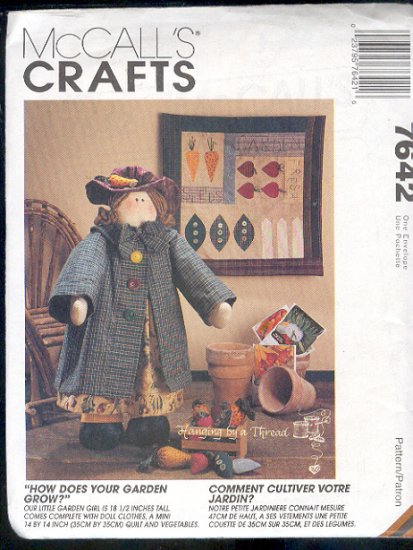 "McCall's Sewing Pattern 7642, Garden Girl 18""  doll, with clothes mini quilt 14 X 14  and veggies"