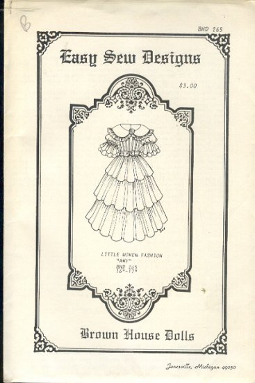 "Sewing Pattern, Brown House Dolls, Little Women Fasnion, Amy, 16-17"" Doll"