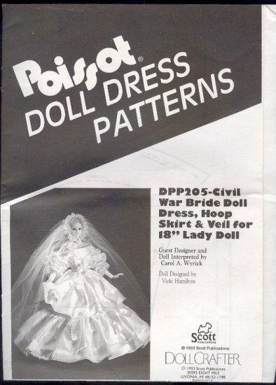 "Sewing Pattern, Pissot Civil War Bride Doll Dress, hoop, veil for 18"" doll"