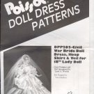 "Sewing Pattern, Pissot Civil War Bride Doll Dress, hoop, veil for 18"" doll"