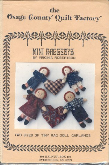 "Sewing Pattern, Osage Country Quilts, Mini Raggedys 6"" and 8"" as garlands too"