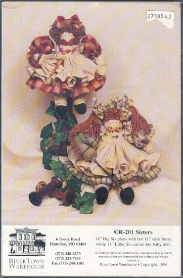 "Sewing Pattern, River Town Warehouse, Sisters, 16"" and 13"" dolls and clothes and 11 stick horse"