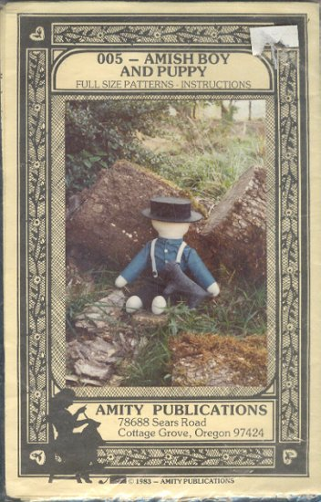 "Sewing Pattern, Amity Publications, Amish boy and puppy, Cut, 21"" doll and 5X 7"" pup"