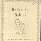 """Sewing Pattern, Backroad Babies, 6"""" boy and girl rag dolls with clothes"""