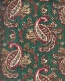 Sewing Fabric Cotton Paisley on Medium Green 1.5 yds   No. 124