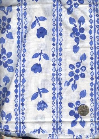 Sewing Fabric Cotton Blue flowers in stripes 5 yds X 60  No. 127