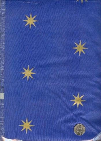 "Sewing Fabric Polished cotton Navy & stars 2 yds X 60""  No. 122"