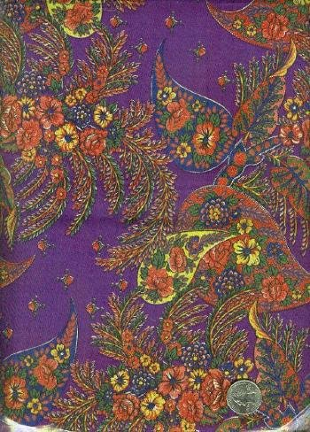 "Sewing Fabric Cotton Plum Paisley 2 yds X 44""  o. 123"