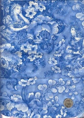 "Sewing Fabric Cotton Blue Roses 2 yds X 44""   No. 128"