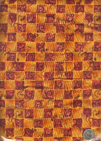 "Sewing Fabric Cotton Deep orange Squares 2 yds X 44""  No. 147"