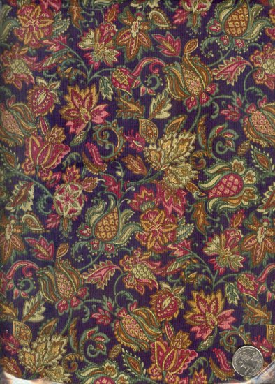 "Sewing Fabric Cotton Brown Paisley  type flowers 2 yds X 44""  No. 118"