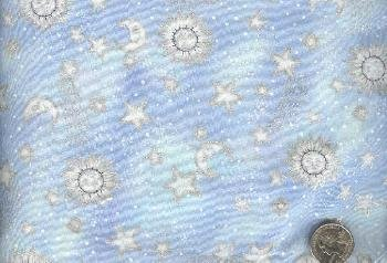 Sewing Fabric Cotton Sun Moon Stars pale blue 1.33 yds    No. 156