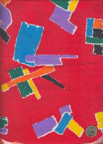 Sewing Fabric Cotton Bright geometrics on red 1.5 yards  No. 164