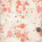 Sewing Fabric Cotton Soft peach flowers on white 2.5 yd  No. 139