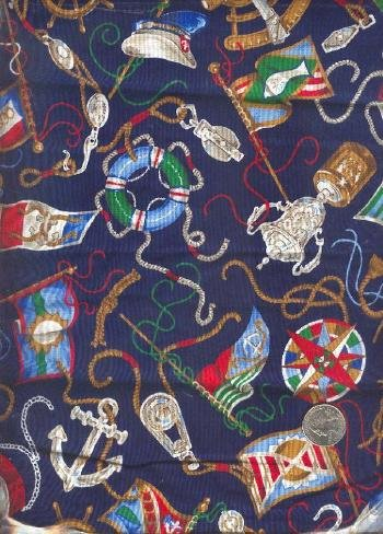 "Sewing Fabric Cotton Boat Items on navy 1 yd X 44""  No. 177"
