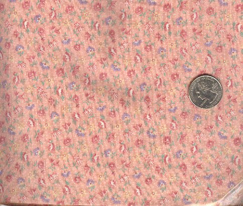 Sewing Fabric Cotton Small Print Flowers pink 2 yds No. 181
