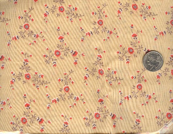Sewing Fabric Cotton Small Print Flowers on beige  No. 192
