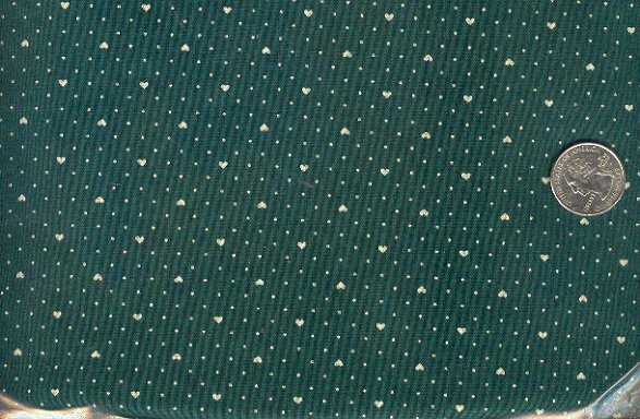 Sewing Fabric Cotton Small Print Hearts Dots Dark Green  No. 198