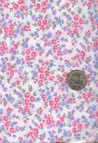 Sewing Fabric Cotton Small Print Roses on white 1.5 yds  No. 203