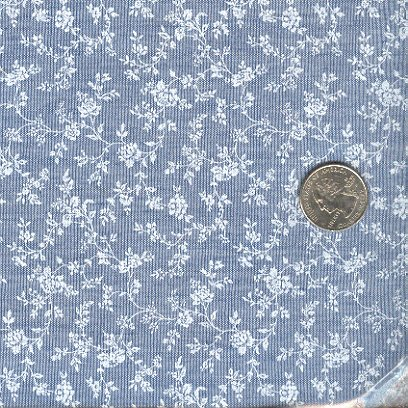 Sewing Fabric Cotton Small Print White roses on blue  No. 206